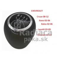 Hlavica radiacej páky Chevrolet Cruze, 5 stupňová, chrom