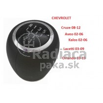 Hlavica radiacej páky Chevrolet Kalos, 5 stupňová, chrom