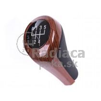 Hlavica radiacej páky BMW rad 6, E63 E64, 5 stupňová, drevodekor