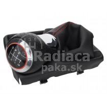 Radiaca páka s manžetou Audi A5 8T, 6 stupňová, červený krúžok, lesklý chrom